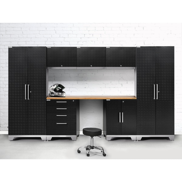 Exceptionnel NewAge Products Performance 2.0 Series Diamond Plate Steel 8 Piece Cabinet  Set With Bamboo Worktop