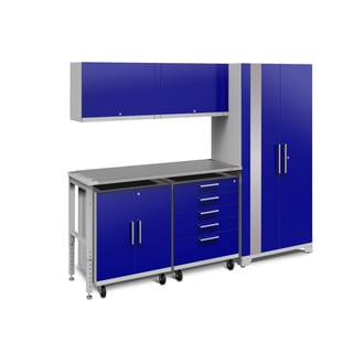 NewAge Products Performance Plus 2.0 6-piece Garage Cabinet Set with Stainless Steel Worktop