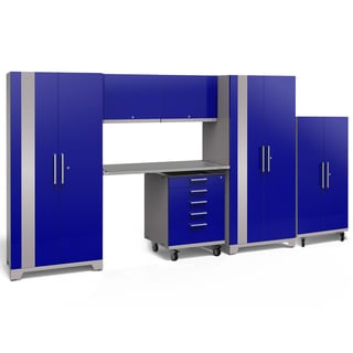 NewAge Products Performance Plus 2.0 7-piece Garage Cabinet Set with Stainless Steel Worktop