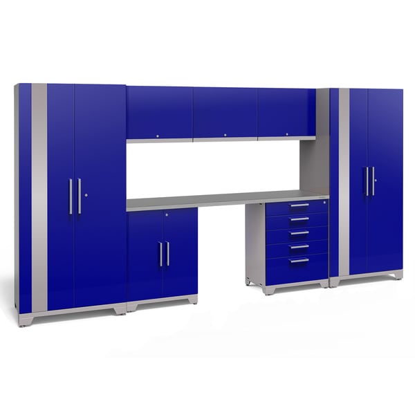 NewAge Products Performance Plus 2.0 8 Piece Garage Storage Set With  Stainless Steel Worktop