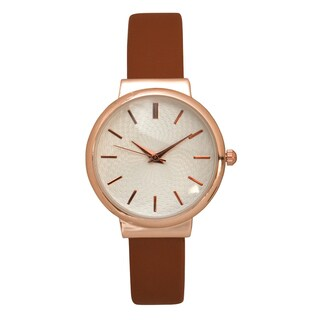 Olivia Pratt Women's Simple Wavy Textured Face Leather Watch One Size
