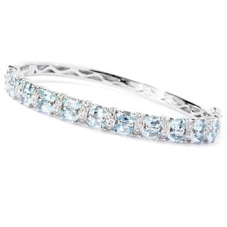 4.58ctw Aquamarine & White Zircon Bangle Bracelet