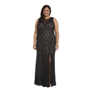 Nightway Plus Size Glitter Lace Gown