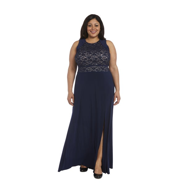 Shop Nightway Plus Size Glitter Lace Gown Free Shipping Today