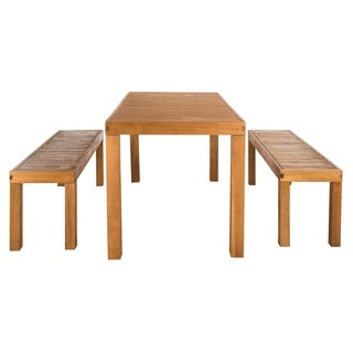 Safavieh Dario Teak 3 Piece Dining Set With 59-Inch L Table And 2 Backless Benches