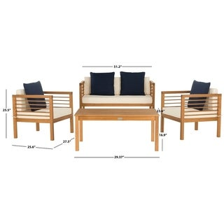 Safavieh Alda Natural/White/Navy 4 Pc Outdoor Set With Accent Pillows