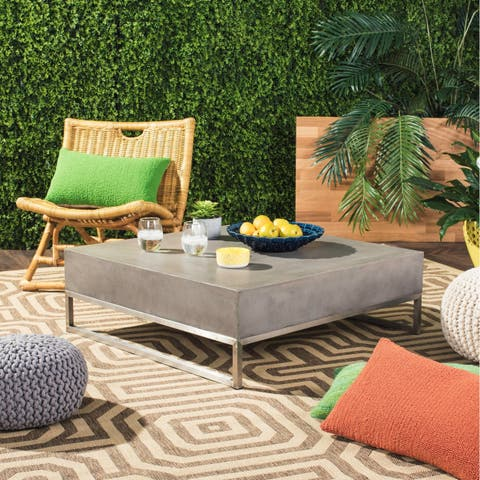 "Safavieh Eartha Dark Grey Modern Concrete Indoor/ Outdoor Coffee Table - 34.3"" x 34.3"" x 11.4"""