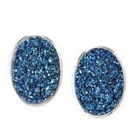 Sterling Silver 18 x 13mm Oval Drusy Earrings w/ Omega Backs