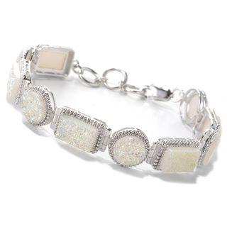 "Sterling Silver 8"" Rectangular & Round Drusy Link Bracelet"