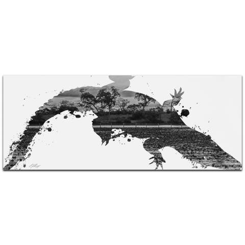 Adam Schwoeppe 'Alligator Swamp Gray' 48in x 19in Animal Silhouette on White Metal