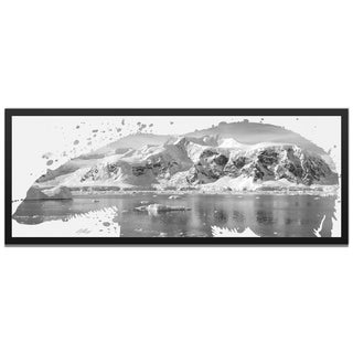 Adam Schwoeppe 'Polar Bear Arctic Gray' 48in x 19in Animal Silhouette on White Metal
