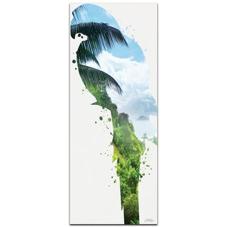 Adam Schwoeppe 'Parrot Tropics' 19in x 48in Animal Silhouette on White Metal