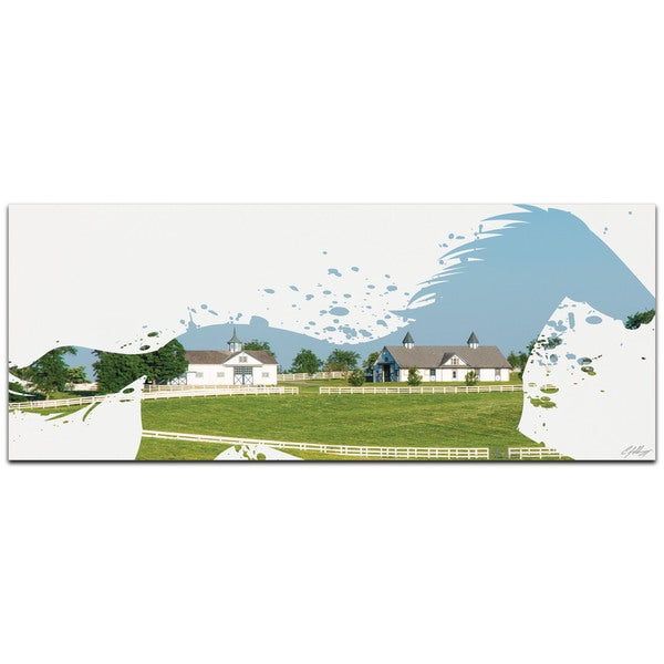 Adam Schwoeppe 'Horse Ranch' 48in x 19in Animal Silhouette on White Metal