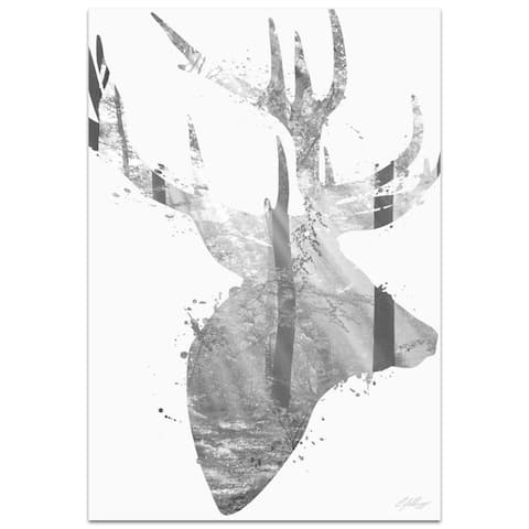 Adam Schwoeppe 'Forest Deer Gray' 22in x 32in Animal Silhouette on White Metal