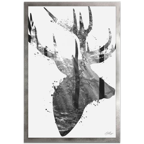 Adam Schwoeppe 'Forest Deer Gray' 22in x 32in Animal Silhouette on White Metal