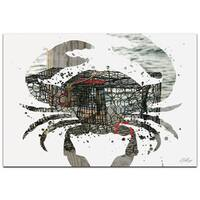 Adam Schwoeppe 'Crab Pot' 32in x 22in Animal Silhouette on White Metal