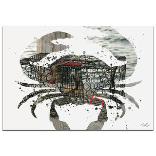 Adam Schwoeppe 'Crab Pot' 32in x 22in Animal Silhouette on White Metal