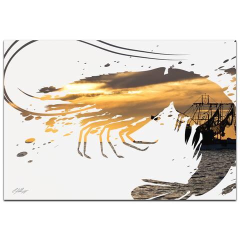 Adam Schwoeppe 'Shrimp Boat' 32in x 22in Animal Silhouette on White Metal