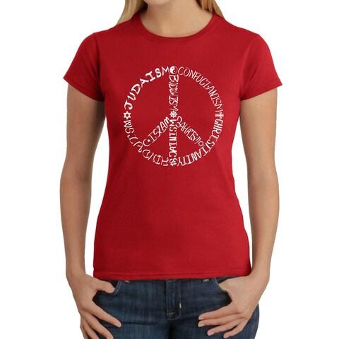 Los Angeles Pop Art Women's Different Faiths peace sign T-Shirt