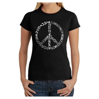 Los Angeles Pop Art Women's Different Faiths peace sign T-Shirt