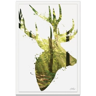 Adam Schwoeppe 'Forest Deer' 22in x 32in Animal Silhouette on White Metal
