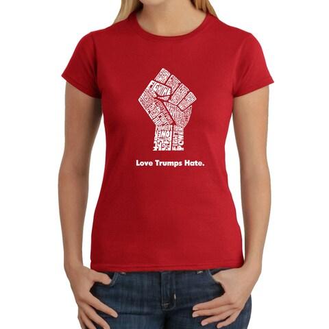 Los Angeles Pop Art Women's Love Trumps Hate Fist T-Shirt