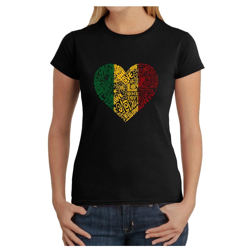 Los Angeles Pop Art Womens One Love Heart T-Shirt