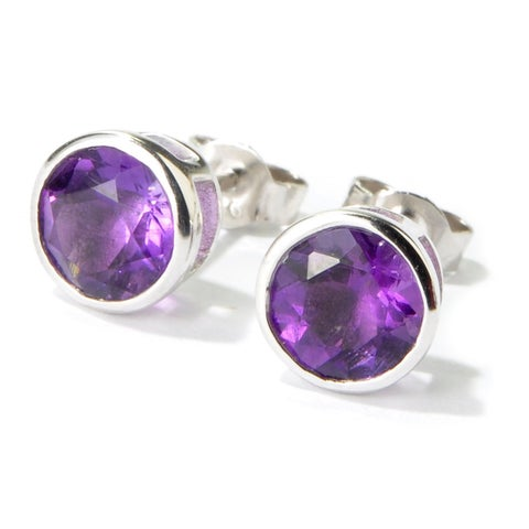 Rhodium over Sterling Silver Stud Earrings in multiple gemstones and colors