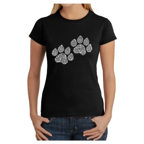 Los Angeles Pop Art Women's Woof Paw Prints T-Shirt