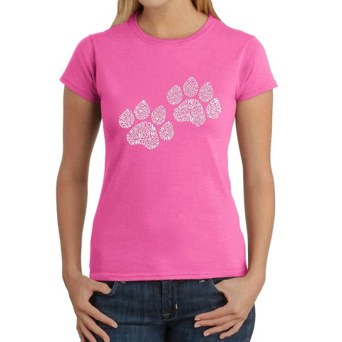 Los Angeles Pop Art Women's Woof Paw Prints T-Shirt
