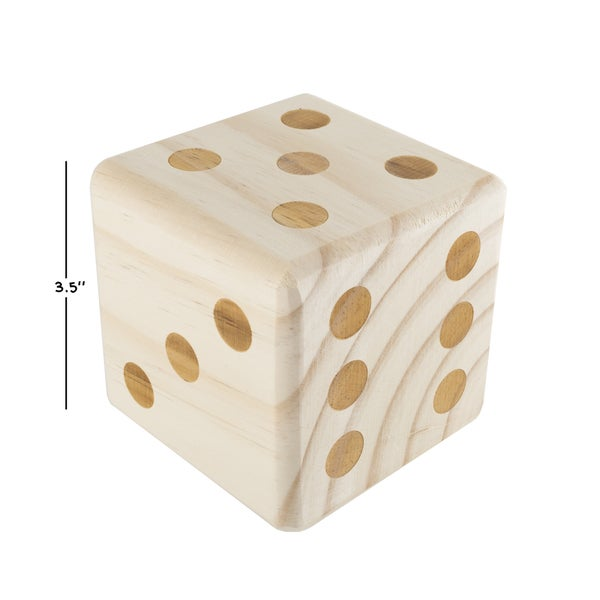 """Hey! Play! Giant Wooden Yard Dice Outdoor Lawn Game - Natural Wood - 3.5"""" Cube"""