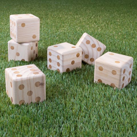 "Hey! Play! Giant Wooden Yard Dice Outdoor Lawn Game - Natural Wood - 3.5"" Cube"