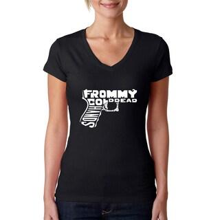 Los Angeles Pop Art Women's V-Neck Out of My cold Dead Hands Gun T-Shirt