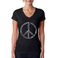 Los Angeles Pop Art Women's V-Neck Different Faiths peace sign T-Shirt