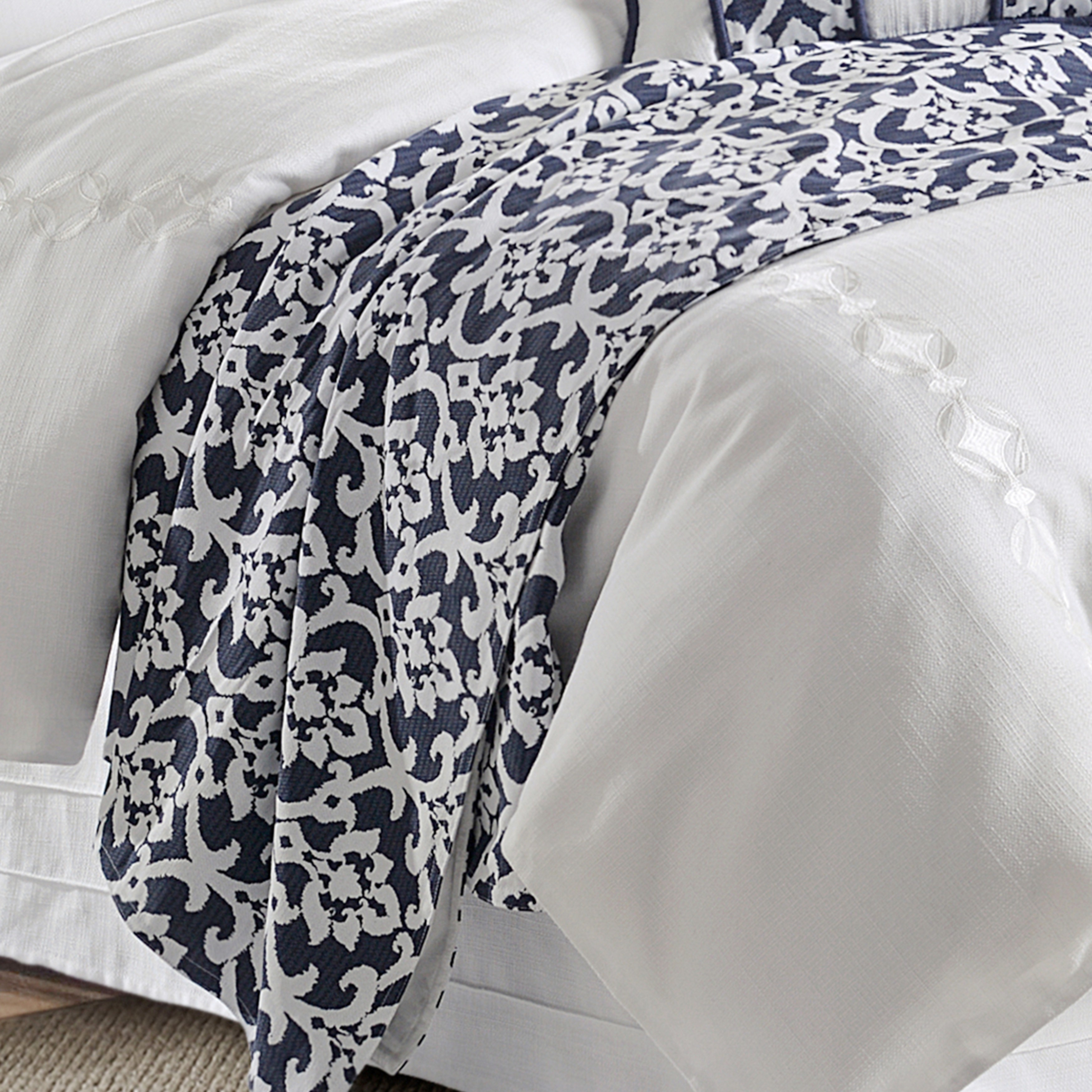 Hiend Accents Kavali Navy White Floral Jaquard Duvet Shams Not Included Overstock 15907695