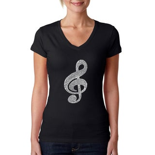 Los Angeles Pop Art Women's V-Neck Music Note T-Shirt