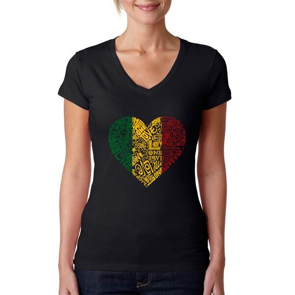 Los Angeles Pop Art Women's V-Neck One Love Heart T-Shirt