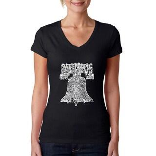 Los Angeles Pop Art Women's V-Neck Liberty Bell T-Shirt