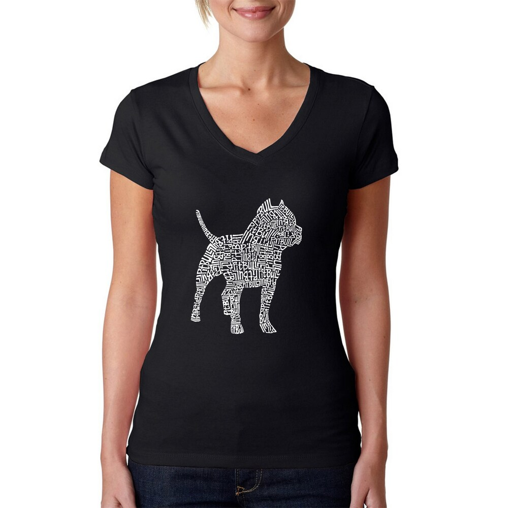 Los Angeles Pop Art Womens V-Neck Pitbull T-Shirt