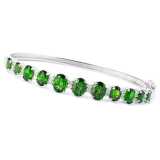 Platinum o/ Silver 6.05ctw Chrome Diopside Bangle