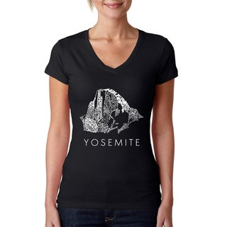 Los Angeles Pop Art Women's V-Neck Yosemite T-Shirt