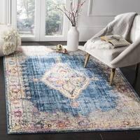 Safavieh Bristol Bohemian Blue/ Ivory Polyester Area Rug - 7' x 7' Square