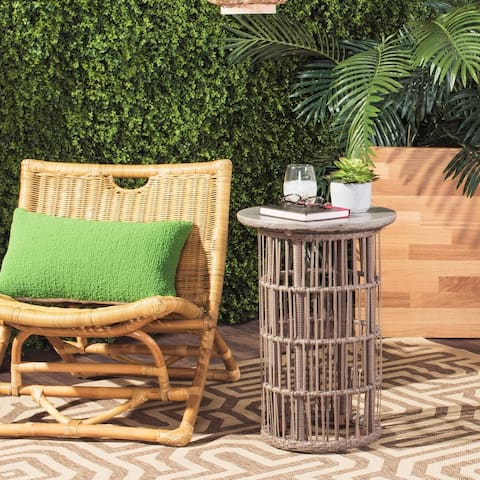 "SAFAVIEH Fane Dark Grey Modern Concrete Indoor/ Outdoor Side Table - 15.8"" x 15.8"" x 23.2"""