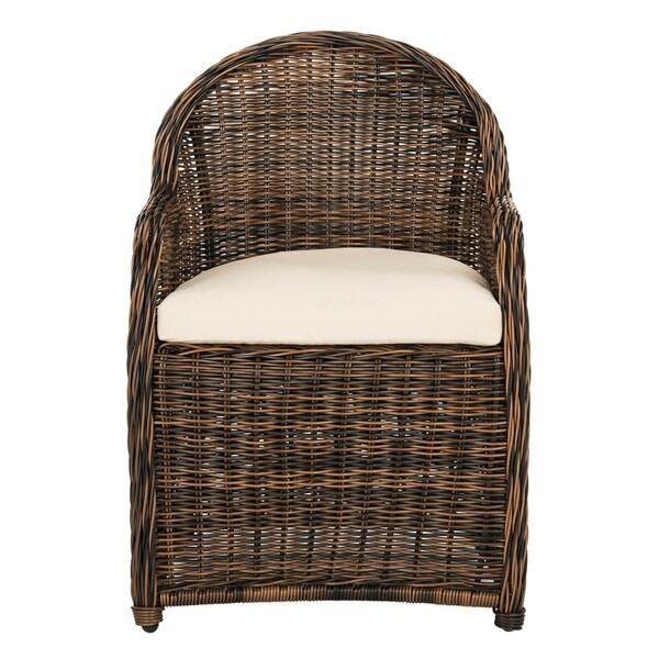 Safavieh Newton Brown/Beige Wicker Arm Chair with Cushion