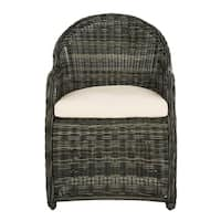Safavieh Newton Grey/Beige Wicker Arm Chair With Cushion