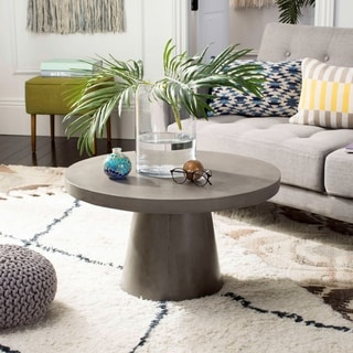 Safavieh Delfia Dark Grey Modern Concrete Round 27.56-Inch Dia Coffee Table Indoor/Outdoor