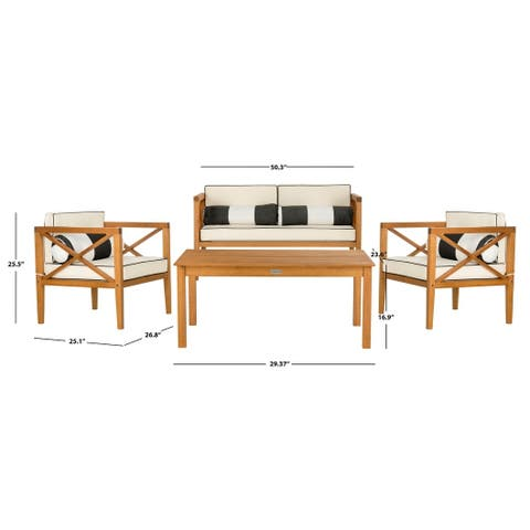 Safavieh Outdoor Living Nunzio Natural/Black/White 4 Pc Set With Accent Pillows