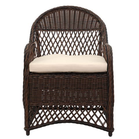 Safavieh Outdoor Living Davies Brown/ Beige Wicker Arm Chair with Cushion