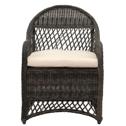 Safavieh Outdoor Living Davies Grey/ Beige Wicker Arm Chair with Cushion