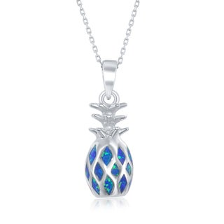 "La Preciosa Sterling Silver Created Blue Opal 3D Hawaiian Pineapple Pendant 18"" Necklace"